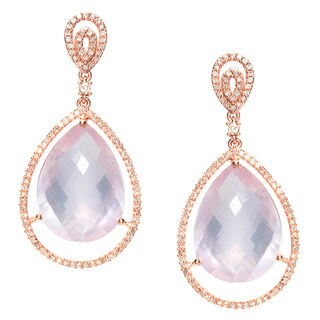 Earrings with 27.98ct TW Genuine Diamonds and Quartz 14K Rose Gold