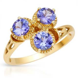 Ring with 1.20ct TW Genuine Tanzanites in 14K Yellow Gold