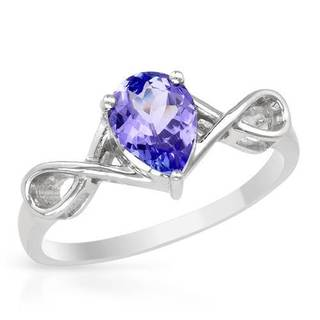 Ring with 1.00ct TW Genuine Tanzanite in 14K White Gold