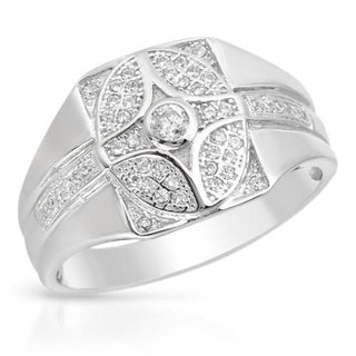 Men's Ring with 0.55ct TW Cubic Zirconia Crafted in Platinum coated Sterling Silver