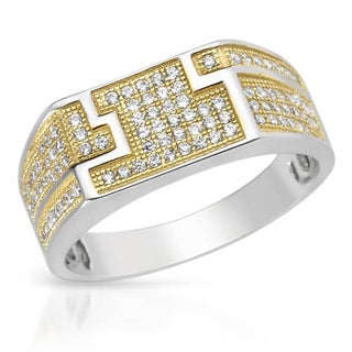 Men's Ring with 0 3/4ct TW Cubic Zirconia Crafted in 18K/925 Gold-plated Silver