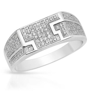 Men's Ring with 0 3/4ct TW Cubic Zirconia in Platinum coated Sterling Silver