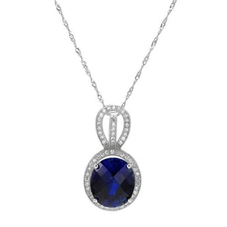 Necklace with Cubic Zirconia/ Created Sapphire 925 Sterling Silver