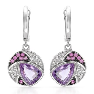 VIDA Earrings with 2.18ct TW Amethysts, Diamonds and Sapphires Crafted in 14K White Gold