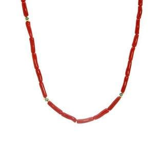 Enzo Liverino Necklace with 1.15ct TW Corals and Emeralds in 18K Yellow Gold