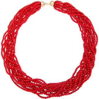 Enzo Liverino Italy Necklace with Corals 18K Yellow Gold