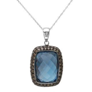 FPJ Necklace with 25.4ct TW Diamonds and Topaz in 14K White Gold