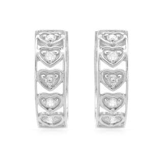 14k White Gold .30ct TDW Diamond Hoop Earrings (H-J, I1-I2)