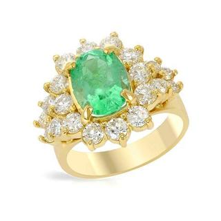 Cocktail Ring with 4.67ct TW Diamonds and Emerald in 18K Yellow Gold