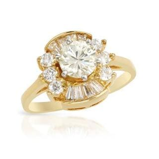 14k Two-tone Gold 1.15ct TDW Diamond Solitaire Plus Engagement Ring
