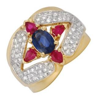 14k Yellow Gold 5/8ct TDW Diamonds, Rubies and Sapphire Ring