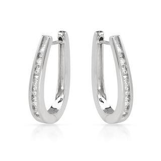 14k White Gold Diamond Hoop Earrings (I, I1-I2) (H-I, SI2-SI3)
