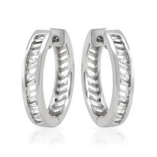 Hoops Earrings with Diamonds 14K White Gold