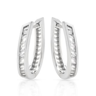14K White Gold Diamond Accent Hoop Earrings