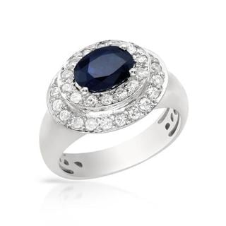 Ring with 2.08ct GTW Diamonds and Sapphire in 18KT White Gold