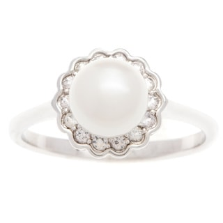 Ring with 7mmFreshwater Pearl/ Sapphires 14K White Gold