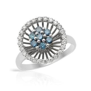Ring with 0 3/4ct TW Fancy Intense Blue enhanced Diamonds in White Gold