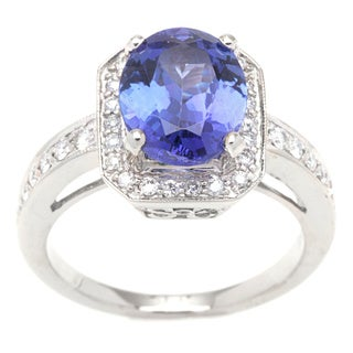 Ring with 3.65ct TW Diamonds and Tanzanite Crafted in 18K White Gold