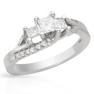 14k White Gold 1/2ct TDW Three-stone Princess-cut Diamond Engagement Ring