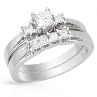 14k White Gold 0.55ct TDW Princess-cut Diamond Bridal Set