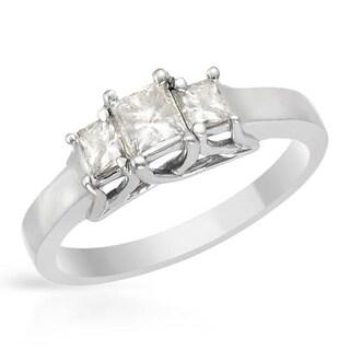 14k White Gold 0 3/4ct TDW Princess-cut Three-stone Diamond Engagement Ring