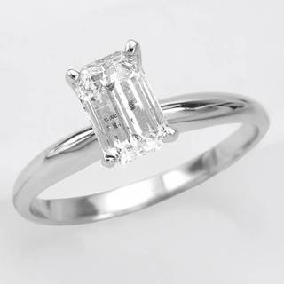 14K White Gold Solitaire 1.19ct TW Emerald-cut Diamond Engagement Ring