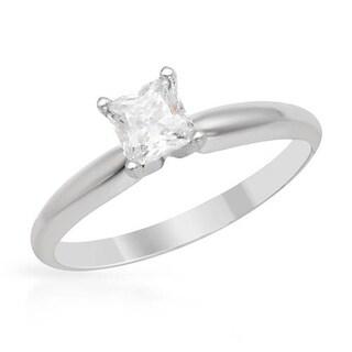 14k White Gold 1/2ct TDW Princess-cut Diamond Solitaire Engagement Ring