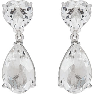 Yours by Loren Heart Earrings with 15.2ct TW Quartz in .925 Sterling Silver