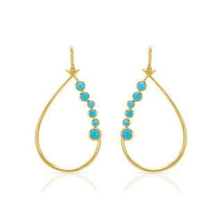 Yours by Loren Earrings with 2.3ct TW Turquoises in 14K/925 Gold-plated Silver