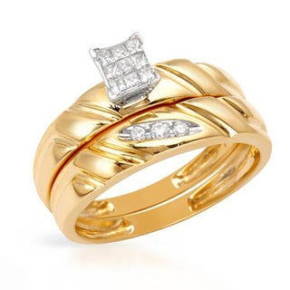 14k Two-tone Gold Diamond Bridal Set