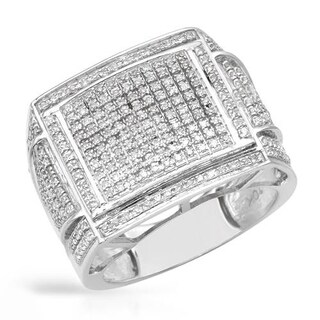 Men's Ring with 0.85ct TW Diamonds of White Gold