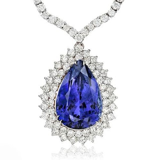 Necklace with 35.25ct TW Genuine Diamonds and Tanzanite in 18K White Gold
