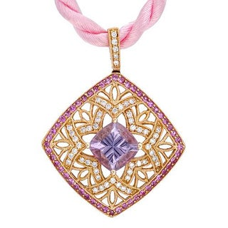 Necklace with 3.65ct TW Genuine Amethyst, Diamonds and Sapphires Crafted in 18K Rose Gold and Pink S