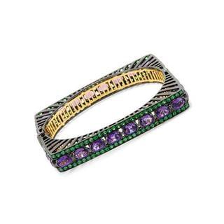 Yours by Loren 14k Goldplated Silver 30.64ct TW Amethyst Tsavorite Garnet Bracelet