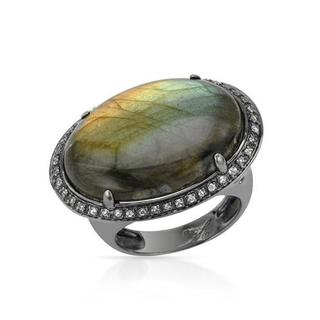 YOURS BY LOREN Ring with 14.99ct TW Genuine Labradorite and Topazes in 925 Sterling Silver