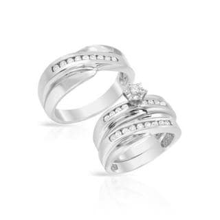 14k White Gold 0.62ct TDW Diamond Matching His and Hers Wedding Ring Set