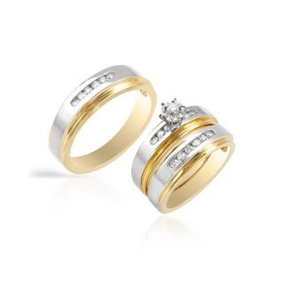 14k Two-tone Gold Diamond Matching His and Hers Wedding Ring Set