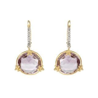 Earrings with 9.82ct TW Amethysts and Diamonds 14K Yellow Gold