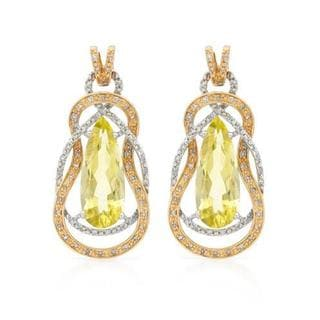 Earrings with 8.50ct TW Genuine Diamonds and Quartz in 14K Two-tone Gold