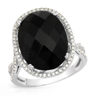 Cocktail Ring with Diamonds/ Onyx 14K White Gold