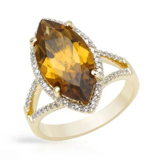 Cocktail Ring with 6.32ct TW Diamonds and Quartz in 14K Yellow Gold