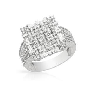 14K White Gold 1ct TDW Multi-stone Fashion Engagement Ring H+ SI2+ szie 7