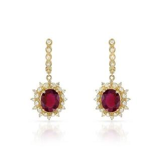 Earrings with 10.58ct TW Diamonds and Rubies in 14K Yellow Gold