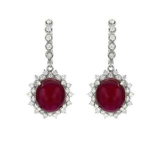14k White Gold Earrings with 1.85ct TDW Diamonds and Rubies