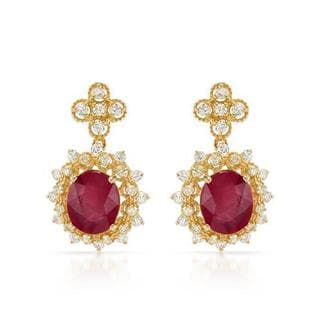 Earrings with 12.3ct TW Diamonds and Rubies Crafted in 14K Yellow Gold