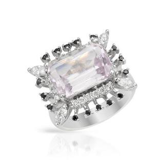 Cocktail Ring with 7.19ct TW Diamonds and Kunzite in 14K White Gold