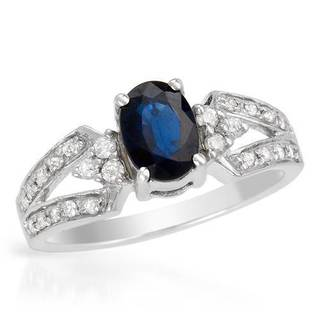 Ring with 1.15ct TW Genuine Diamonds and Sapphire Crafted in 14K White Gold