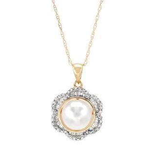 Necklace with Diamonds/ 80mmFreshwater Pearl 14K Yellow Gold