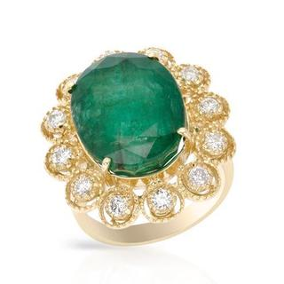 Cocktail Ring with 16.75ct TW Genuine Diamonds and Emerald in 14K Yellow Gold