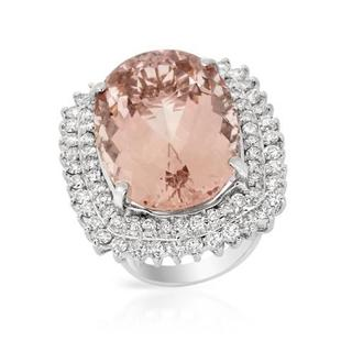 14k White Gold Cocktail Ring with 3.16ct TDW Diamonds and Morganite